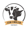 Cow head silhouette emblem label vector image
