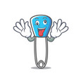 crazy safety pin mascot cartoon vector image vector image