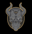decrepit evil cartoon skull with horns vector image vector image