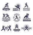 design martial sport labels set monochrome vector image vector image