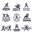 Design of martial sport labels set monochrome vector image