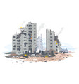 destroyed residential neighborhood concept vector image