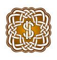 dollar logo in celtic knots style stylish tattoo vector image