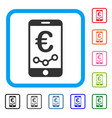 euro mobile report framed icon vector image vector image