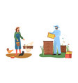 farmer and beekeeper country farmland farm vector image vector image