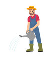 farmer with watering can working on farm cartoon vector image vector image