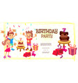 flat birthday celebration template vector image vector image
