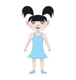 funny girl in a blue dress vector image vector image
