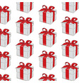 gift pattern red ribbon with bow on grey vector image vector image