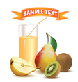 glass with juice pear and kiwi vector image vector image