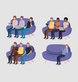 group of men in living room using technology vector image vector image