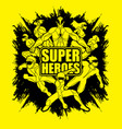 group of super heroes action unity together team vector image vector image