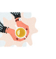 hands holding teacup overhead view flat vector image