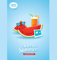 hello summer card banner with watermelon vector image vector image