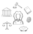 Law judge and justice sketched icons vector image vector image
