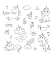magical doodles with unicorn clouds cupcake vector image vector image