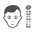 Man Face Icon With Tools Bonus vector image vector image
