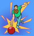 man throws bowling ball vector image vector image