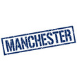 manchester blue square stamp vector image vector image