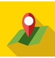 Map with pin pointer icon flat style vector image vector image