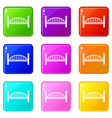 modern arch bridge icons set 9 color collection vector image vector image