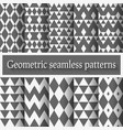Monochrome geometric seamless patterns set vector image vector image