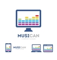 music and phone logo combination Equalizer vector image vector image