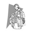 mysterious girl ghost with mirror in jeans jacket vector image