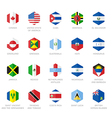 North America and Caribbean Flag Icons Hexagon vector image