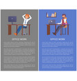 office work poster mae resting at workplace vector image vector image