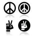 Peace hand gesture icons set
