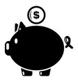 pig money icon simple black style vector image vector image
