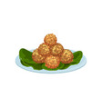 plate with fried meat balls delicious snacks vector image vector image