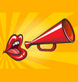 pop art loudspeaker and lips poster vector image vector image