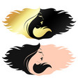 profile a girl with curls hair vector image vector image