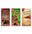 realistic collection of chocolate packaging vector image vector image