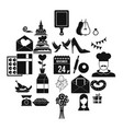romantic entertainment icons set simple style vector image