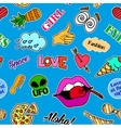 Seamless pattern with fashion patch badges Pop vector image vector image