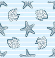 seashells and starfishes seamless pattern vector image
