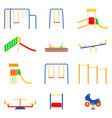set of kid playground icons on white background vector image vector image