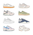Set of modern sneakers sports shoes collection vector image
