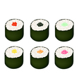 Set of Tobiko Roe Sushi on White Background vector image vector image