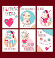 set of valentines day banners with cute voodoo vector image