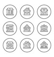 set round line icons houses vector image