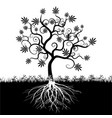 silhouette an abstract cannabis tree vector image vector image