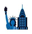 statue of liberty city skyscraper vector image