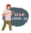 stop covid19-19 pandemic woman wearing face vector image