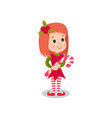 sweet little girl in the costume of elf kid in vector image