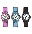 three color plastic wrist watches vector image vector image
