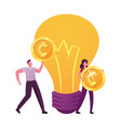tiny male and female characters carry golden money vector image